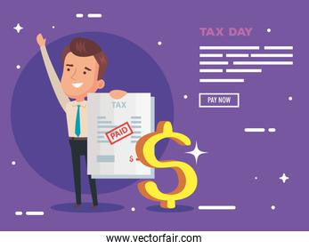 tax day poster with businessman and document paid