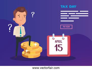 tax day poster with thinking businessman and icons