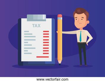 businessman with document tax and pencil