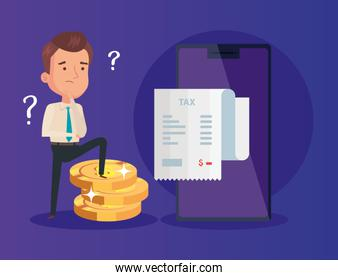 businessman with voucher tax and icons