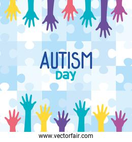 world autism day with hands in background of puzzle pieces