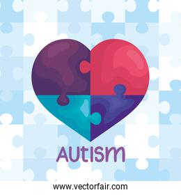 world autism day with heart of puzzle pieces