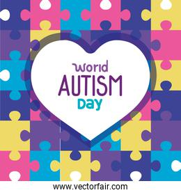 world autism day with heart in puzzle pieces background