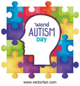 world autism day with head silhouette in puzzle pieces background