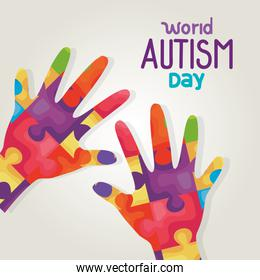 world autism day and hands with puzzle pieces
