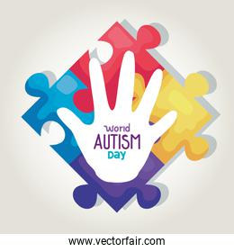 world autism day and hand with puzzle pieces