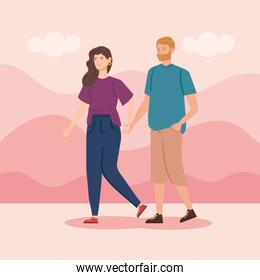couple holding hands in landscape