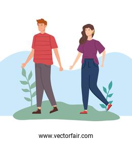 young couple in landscape nature