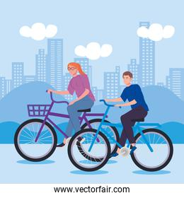young couple riding bicycle avatar characters on the city