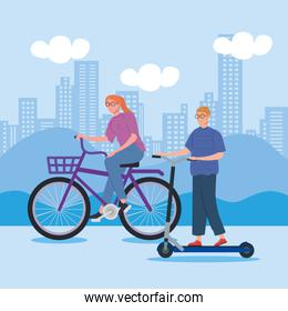 woman riding bike and man in scooter