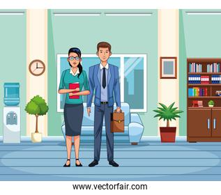 business woman and man standing at office scenery background