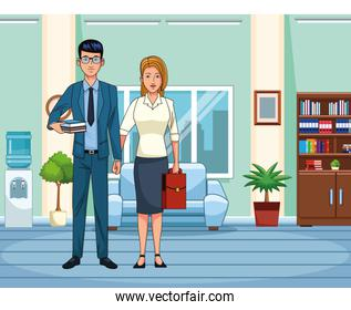 cartoon business couple at office scenery