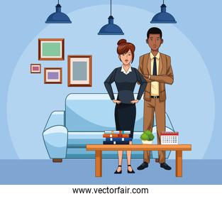 cartoon businesswoman and businessman at office living room
