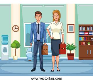 businesswoman and businessman, colorful design