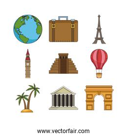 travel and monuments of the world icon set
