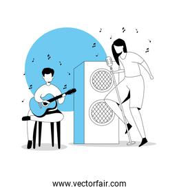 man with guitar and woman singer