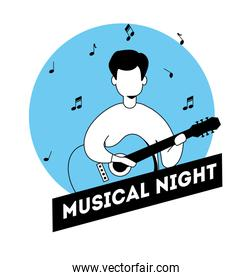 man with guitar and musical night label