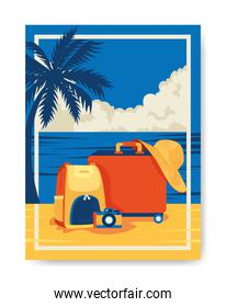 travel poster with luggage in beach landscape