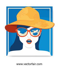 travel poster and face of woman with hat summer