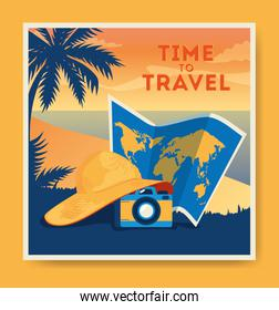 travel poster with beach landscape and icons