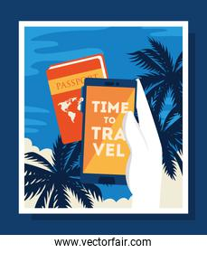 time travel poster with passport and icons