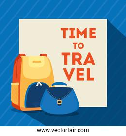 travel poster with bagpack and bag female