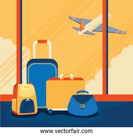 travel poster with luggage and airplane
