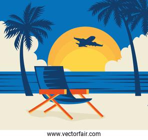 travel poster with chair in beach landscape