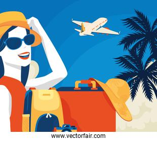 travel poster with woman and airplane
