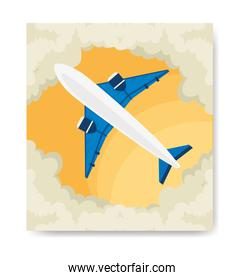 travel poster and airplane with clouds