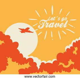 travel poster with airplane flying