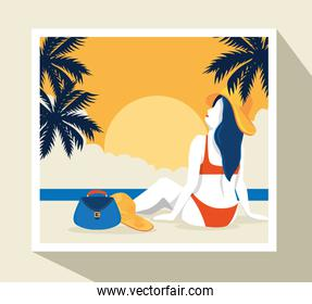 travel poster with woman in beach landscape
