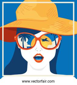 travel poster and face of woman with hat summer female