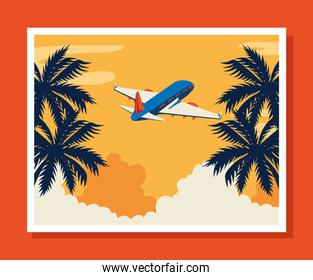 travel poster with airplane flying and tree palms