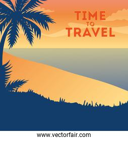 travel poster with beach landscape