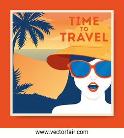 travel poster with woman and summer landscape