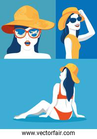 set poster of women with hats summer