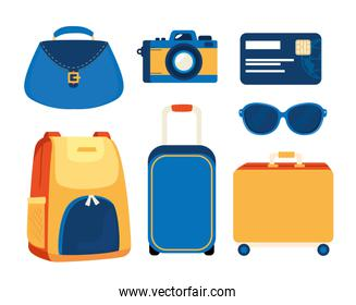 set of summer travel icons