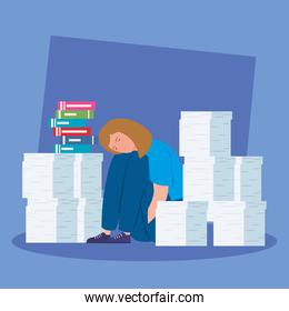 woman with stress attack and pile documents