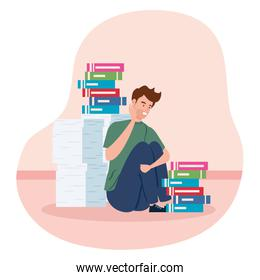 man with stress attack and stack documents
