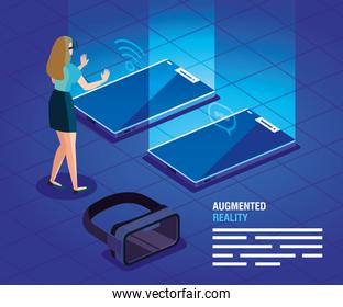 woman with glasses of reality augmented and phones