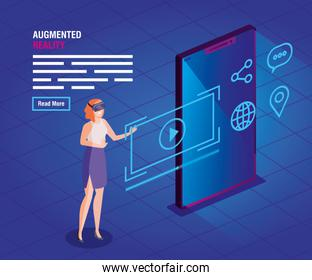 woman with glasses and smartphone of technology reality augmented