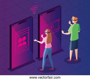 couple with glasses of reality augmented and smartphone
