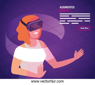 woman with glasses of reality augmented technology
