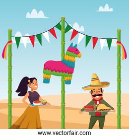 Mexican man and woman vector design