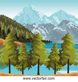 Beautiful landscape with trees, mountains and lake, colorful design