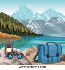 beautiful mountains and lake landscape with bag, binoculars and lantern, colorful design