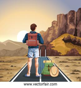 traveler man with suitcases with western sunset landscape, colorful design