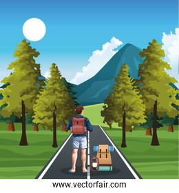 beautiful nature landscape with trees and way with traveler man standing with backpacks