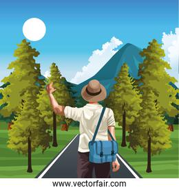 beautiful way with nature trees and mountains and traveler man with hat and bag